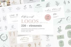 156 hand-drawn illustrations (plants, herbs, flowers, household and decor objects)74 logo templates + colored version of each logo. $27 by Crocus Paperi Plant Illustration, Botanical Illustration, Stationery Design, Wedding Stationery, Logos Ideas, Hand Drawn Logo, Graphic Design Software, Floral Logo, Creative Logo