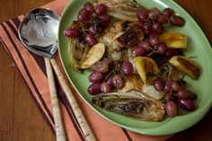 Side dish for pork tenderloin - grilled or pan roasted endive, apples and grapes