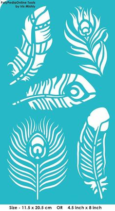 Stencil Stencils Templates Feathers, Peacock Feather, self-adhesive, flexible, for polymer clay, fabric, wood, glass, card making #scrapbookprintouts