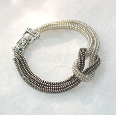 Silver ... Knotted Bracelet . Shiny . Stainless . by time2cre8, $39.00