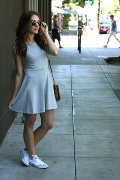 gray dress and white converse