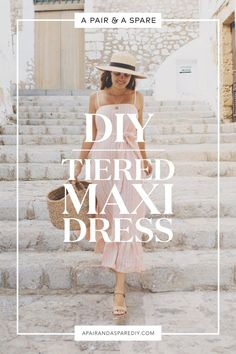 Sewing Clothes make-diy-tiered-maxi-dress - I want to share a simple DIY tiered maxi dress tutorial that is so so easy to make and definitely something you're going to want in your travel suitcase! Diy Clothing, Sewing Clothes, Clothing Patterns, Sewing Patterns, Blouse Patterns, Maxi Dress Patterns, Robe Diy, Maxi Dress Tutorials, Diy Kleidung