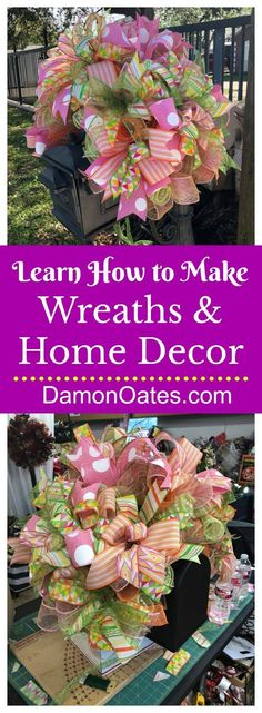 Learn How to Make Wreaths and Home Decor by DecoExchange / Find Wreaths for Sale… Make Your Own Wreath, How To Make Wreaths, Handmade Home Decor, Handmade Decorations, Spring Decorations, Diy Mailbox, Diy Wreath, Wreath Making, Wreath Ideas