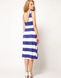 ASOS Midi Dress In Stripe With Scoop