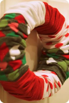 Sock Wreaths! Just change out the socks and this can work for any holiday or season!
