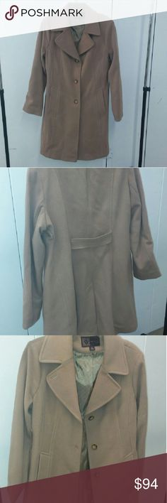 Brand NEW Anne Klein sz 14 overcoat NEW Camel color Never Worn  Anne Klein coat.  You can see by the lining there are NO wear creases.  Sadly my internal thermostat has stayed on and I no longer wear coats, especially here in California! Anne Klein Jackets & Coats