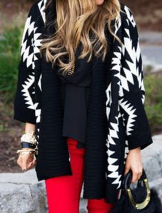 I love how LONG it is. Looks so comfy Aztec Print Cardigan - Alex Malay Boutique