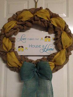 "Burlap wreath ""love makes our house a home"""