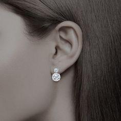 Lindsay Round Cubic Zirconia Drop Earrings - Mystique of Palm Beach - Bijouterie Diamond Drop Earrings, Diamond Studs, Women's Earrings, Diamond Jewelry, Simple Earrings, Silver Earrings, Raw Diamond, Cross Earrings, Dainty Earrings