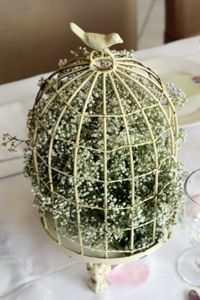 For Easter/spring centerpieces: Fill a small birdcage with baby's breath.