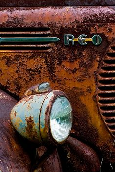 Aged with beauty old rusted car
