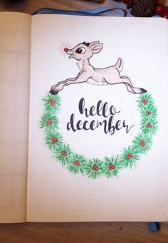 "I'm working on my December bullet journal set up right now. Here are some Christmas themed bullet journal ideas I found for inspiration! Will be posting my own December bujo setup soon! Love this adorable December weekly by Kate Hadfield. This December cover page will remind you of ""lette... #journaling #bulletjournal #planners"