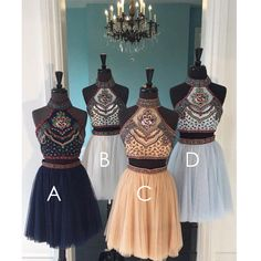 Short homecoming dresses, two pieces homecominges, halter homecoming