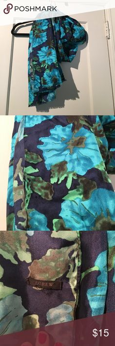 JCrew Silk & Cotton Blend Scarf Gorgeous floral scarf from J.Crew with navy, green and turquoise colors. Worn once but I never reach for it.l and it's so lovely. Excellent condition. Cotton silk blend (though the original content tag is cut off). J. Crew Accessories Scarves & Wraps