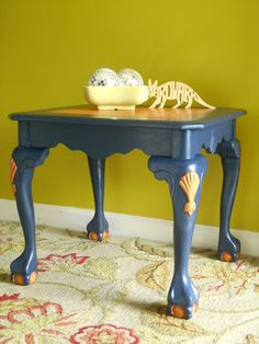 Oak Side Table, Navy Blue with Oak Inset Top, Carved Oak Shell Appliques, Ball/Claw Feet