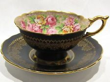 Vintg Royal Stafford Bone China Black w/ Roses Gold Gilt Footed Teacup & Saucer