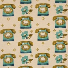 beige Canvas telephone retro fabric by Kokka from Japan