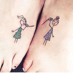 A true best friend is forever, and so are tattoos (well, in theory anyway), so what better way to honor that friendship than with a pair of matching BFF tattoos? Small Bff Tattoos, Soul Sister Tattoos, Bestie Tattoo, Matching Sister Tattoos, Best Friend Tattoos, Mini Tattoos, Cute Tattoos, Beautiful Tattoos, Seele Tattoo
