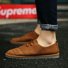 US $28 New Arrival Summer Men Casual Shoes Formal Shoes Man Flats Shoes Fashion Anti Slip Lace-Up Oxfords Moccasin Plus Size Shoes
