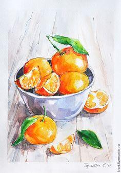 Натюрморт ручной работы. Теплые мандарины. K&ART. Ярмарка Мастеров. Картина с мандаринами, картина в подарок, акрил