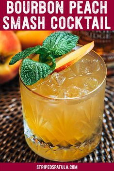 Bourbon Peach Smash cocktail recipe is a refreshing sip for the dog days of summer! See how easy it is to make this fruity, lightly-spicy bourbon cocktail, made with brown sugar simple syrup. Non-alcoholic variation included in the recipe notes. Bourbon Cocktails, Cocktail Drinks, Cocktail Recipes, Drink Recipes, Cocktail List, Margarita Recipes, Alcohol Recipes, Healthy Recipes, Refreshing Summer Cocktails