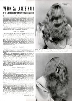 Vintage Hairstyles Veronica Lake's hair, featured in LIFE magazine (November 1941 issue, page Photos: Bob Landry. Vintage Makeup, Vintage Vanity, Vintage Beauty, 40s Hairstyles, Vintage Hairstyles, Veronica Lake Hair, Blond, Marcel Waves, Wet Set