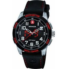 Wenger Men's Nomad LED Compass Watch - Black Dial/Black Silicone Strap/Red LED - product - Product Review