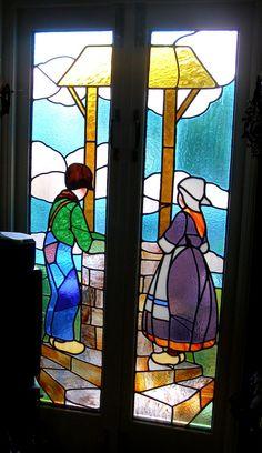 art deco stained glass | Art Deco Stained Glass Panels Tattoos Dutch kids at water well