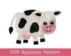 Cow Applique Pattern PDF Applique Template Farm Animal Applique Design