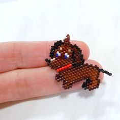 Dachshund Seed Bead Charm  Peyote Stitch Bead by BeadCrumbs, $5.00