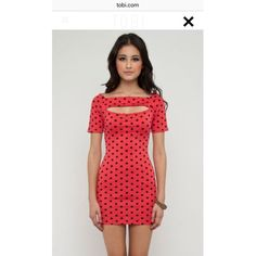 Tobi Polka Dot Bodycon Dress Only worn twice. Does not say Tobi on the tag, however they have this exact dress on the website as shown in pictures from Tobi.com. They are sold out online! Back has two openings, the front has one. Material is stretchy and form fitting made of 70% polyester, 24% rayon and 6% spandex. The color is coral! Tobi Dresses