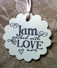 Cute wedding favor tags for jam or jelly jars and more! Jam Packed With Love! Set of 50. on Etsy, $22.54 CAD