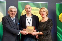 2014 Awards: Gold Award for 'Best Walking Tour' at the CIE Tours Awards of Excellence awarded to Derry Walking Tour - Ronan McNamara. Award presented by Ms. Vivienne Jupp, Chairman of CIE Group and Peter Malone, CIE Group. Photo: John Ohle. #cieawards — at Dublin Castle.