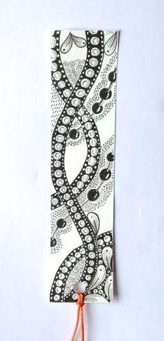 Bookmark zentangle fleuri plastifié (motifs zentangle (noir et blanc ) : Marque-pages par les-tresors-de-marie