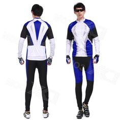 Xintown Mens Cycling Long Polyester Jersey Top + Padded Pants Set - Black + Blue + White (XL)