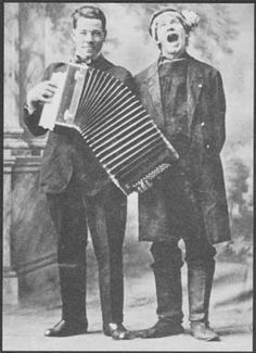 music in this period involved live performance with simple instruments like accordions. L to R: Gustav Nyberg and Olle i Skratthult 1916