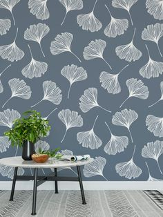 High quality peel and stick removable self adhesive wallpaper/ Modern gingko leaves pattern/ choose from 4 color ways Vinyl Wallpaper, Home Wallpaper, Self Adhesive Wallpaper, Peel And Stick Wallpaper, Wall Texture Design, Feng Shui, Artist Canvas, Textured Walls, Wall Murals
