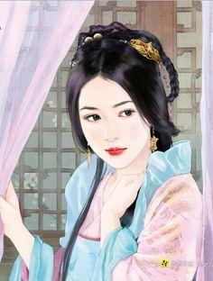 Chinese Painting, Chinese Art, Chinese Drawings, Chinese Cartoon, Beautiful Fantasy Art, Painting Of Girl, Fantasy Paintings, China Girl, Creative Pictures