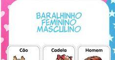 JOGO: BARALHO MASCULINO E FEMININO! Cartas: atividade para trabalhar o gênero do substantivo de forma lúdica!