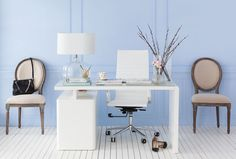 Make your office efficiently productive with our best tips. Add a desk with drawers and storage, a secondary work table and a supportive chair from Structube! White Desks, White Rooms, Balcony Table And Chairs, Dining Chairs, White Corner Desk, Chair And Ottoman Set, Wayfair Living Room Chairs, Condo Decorating, Decorating Tips