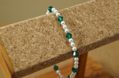 Swarovski crystal and pearl bracelet, Emerald and pearl bracelet, Emerald wedding bracelet, Emerald bridesmaid bracelet