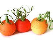 Halloween Pumpkin Ornament Trio Orange Paper Quilled
