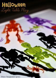 Halloween Sorting & Pattern Making on the Light Table for Preschoolers! Halloween Fine Motor Activities!