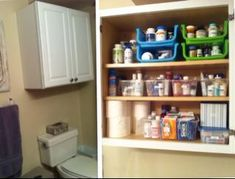 Organized medications in over the toilet cabinet using stackable open bins {featured on Home Storage Solutions 101}