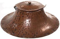 "Gustav Stickley (1858-1942) - Inkwell. Hammered Copper with Glass Insert. Circa 1900. 5-1/2""."