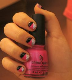 Best friend's nails done my moi! Pink black and silver abstract