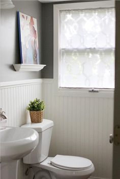 Real Room Inspiration: Decals, Removable Wallpaper, Washi Tape & Contact Paper — Apartment Therapy's Home Remedies Bathroom Window Treatments, Bathroom Windows, Curtains For Bathroom Window, Bath Window, Window Blinds, Downstairs Bathroom, Bathroom Cabinets, Shower Curtains, Apartment Therapy