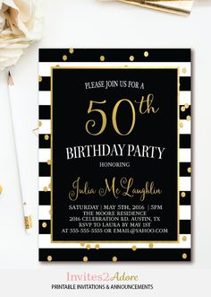 Black & White Stripe Confetti Birthday Invitation - Black, White & Gold Birthday Party Invite - Printable Invitation for ANY age