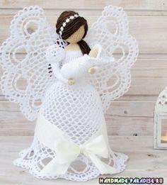 Best 12 Thanks Crochet Angel Pattern, Crochet Angels, Vintage Crochet Patterns, Crochet Christmas Decorations, Crochet Ornaments, Christmas Crochet Patterns, Crochet Diy, Thread Crochet, Crochet Dolls