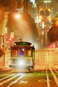 Cable Car on Powell Street on foggy night, San Francisco by Mitchell Funk  www.mitchellfunk.com